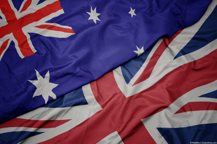 Australian and UK flags lay over each other