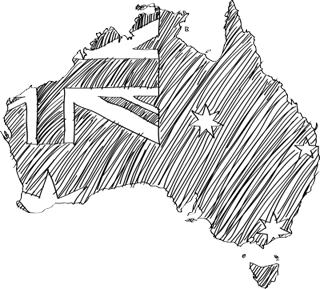 Australia Hand Drawn Map