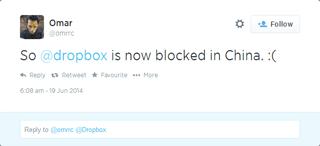 Dropbox Blocked Tweet