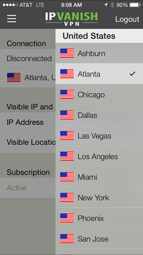 IPVanish iOS Server Selection