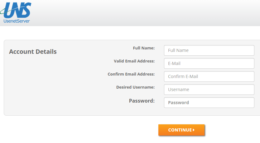 UsenetServer Create account
