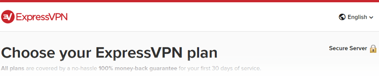 Top portion of ExpressVPN website