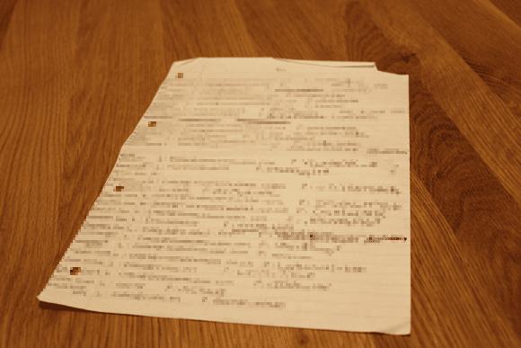Handwritten paper with passwords