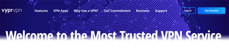 Top section of VyprVPN website