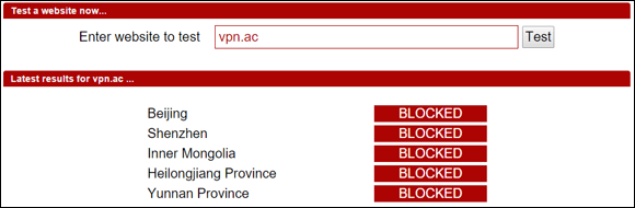 VPN.ac Blocked in China