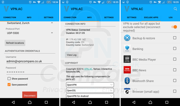 VPN.ac Android App 2016
