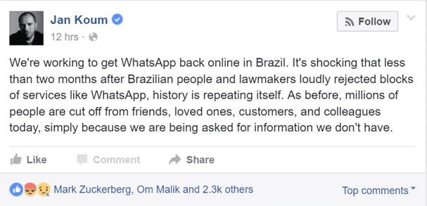 Whatsapp CEO Block