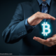"Man holding a bitcoin ""hologram"""