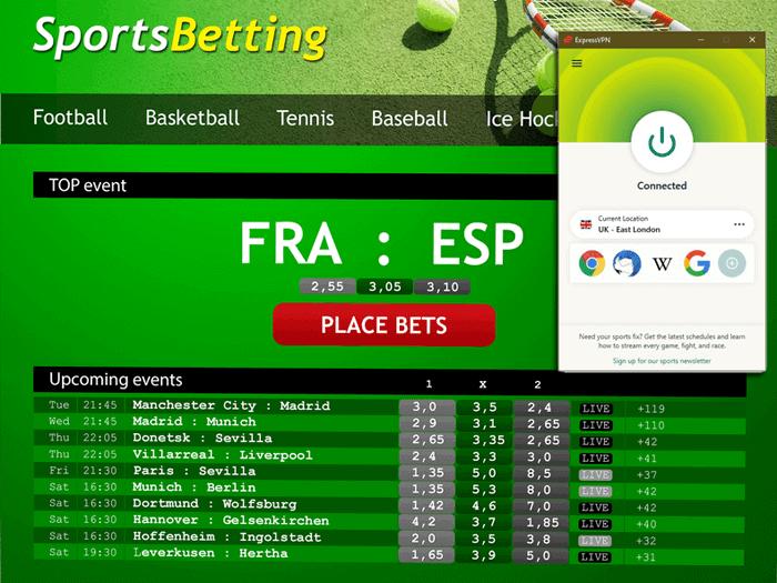 ExpressVPN on betting website