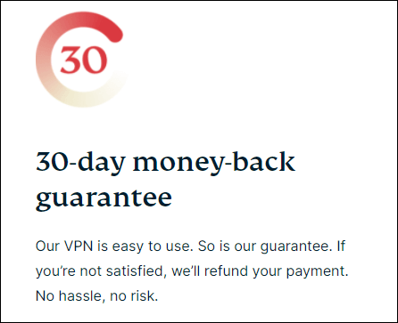 ExpressVPN's money back guarantee