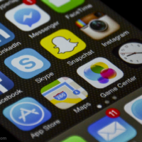 Iphone springboard with social media apps