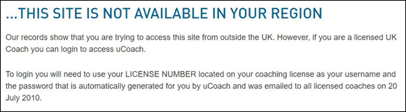 uCoach website blocked