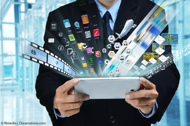 Guy holding tablet with apps projecting outwards