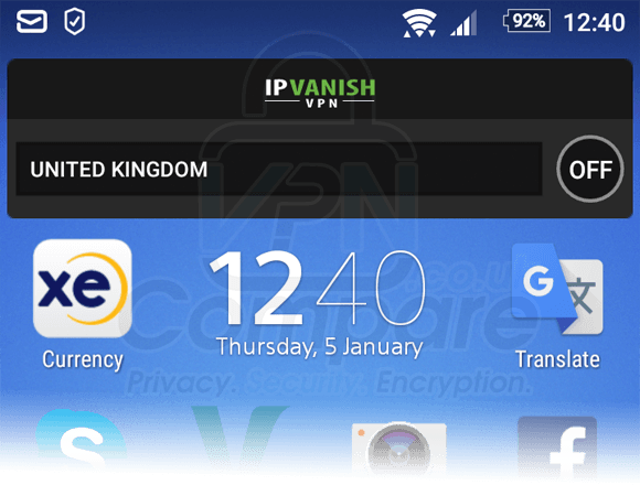 IPVanish Android Widget