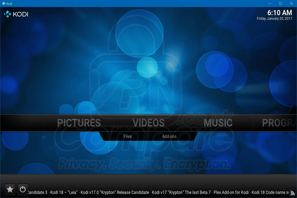 Kodi Main Screen