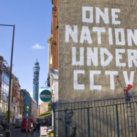 "graffiti of ""one nation under CCTV"""