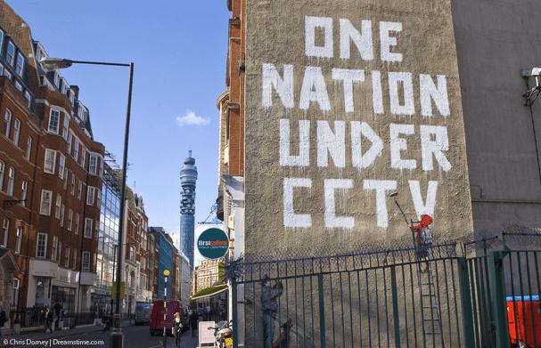"graffiti of ""one nation under CCTV"""