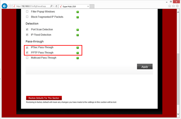 Virgin Media Enable VPN through your