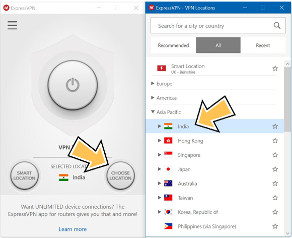 ExpressVPN windows app connecting to India.