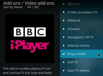 Kodi BBC iPlayer