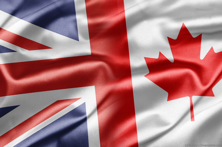 UK and Canada flags