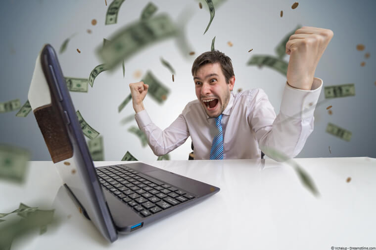 Man online betting winning money