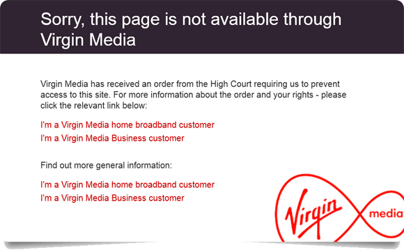 Virgin Media Website Block