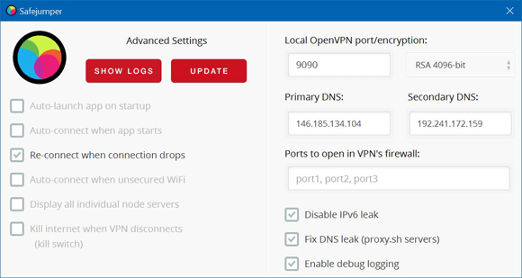 Proxy.sh Windows Settings