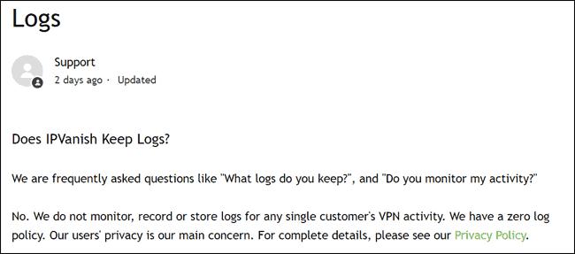 IPVanish no logs