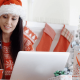 Lady shopping safely online at Christmas
