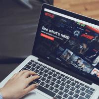 Watching American Netflix on laptop