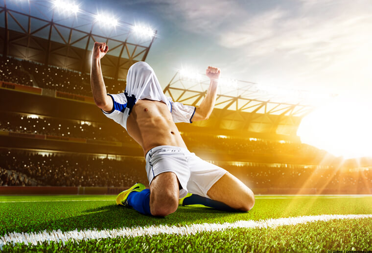 Footballer scoring