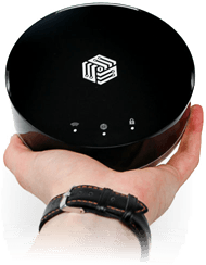 Invizbox VPN router being held in a hand