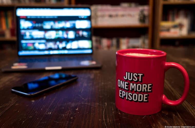 Netflix slogan on a cup