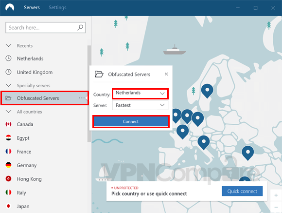 NordVPN Windows app connecting to obsfucated servers