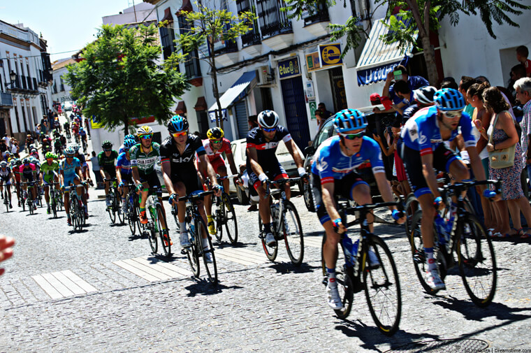Tour of Spain cyclists on cobbles
