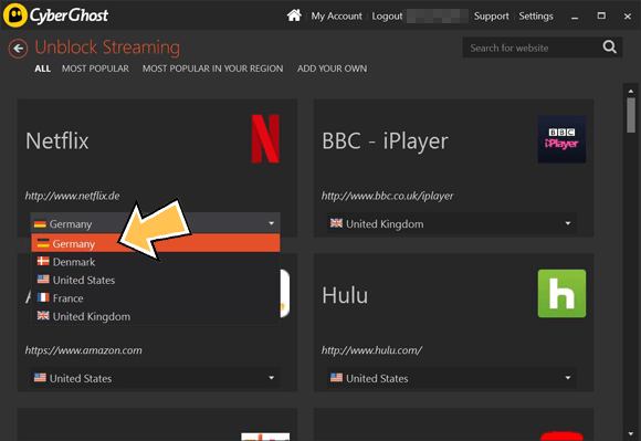 CyberGhost VPN German Netflix