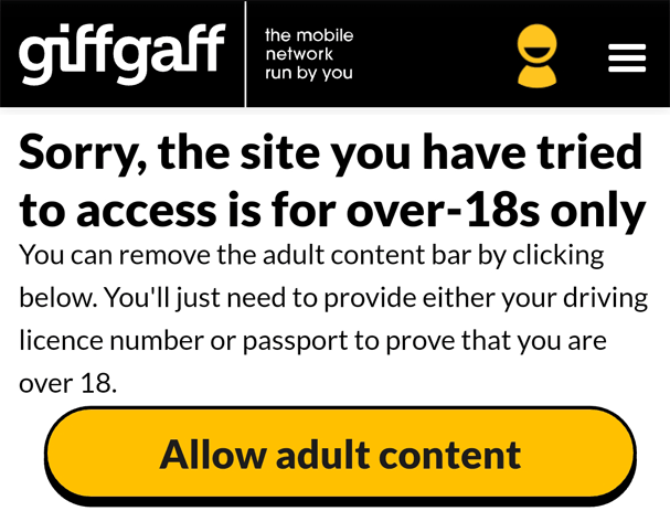 Giffgaff age restrictions