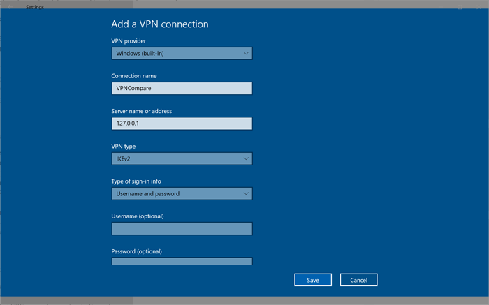 Windows IKEv2 connection settings