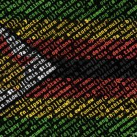 Zimbabwe flag is depicted on the screen with the program code. The concept of modern technology and site development