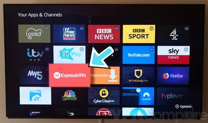 ExpressVPN app menu