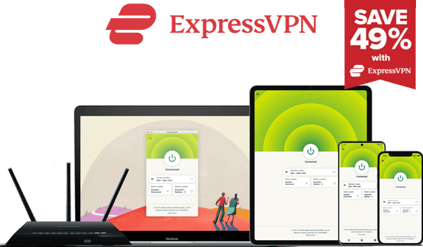 Mock up of ExpressVPN on different devices