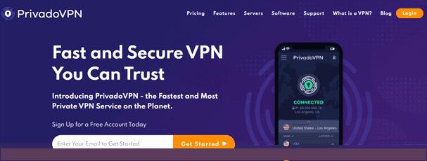 PrivadoVPN website