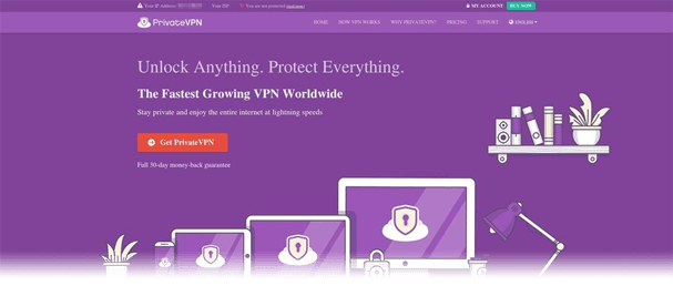 PrivateVPN website header snapshot