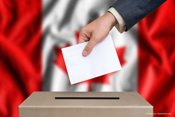Election in Canada - voting at the ballot box