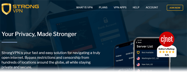 StrongVPN website screenshot