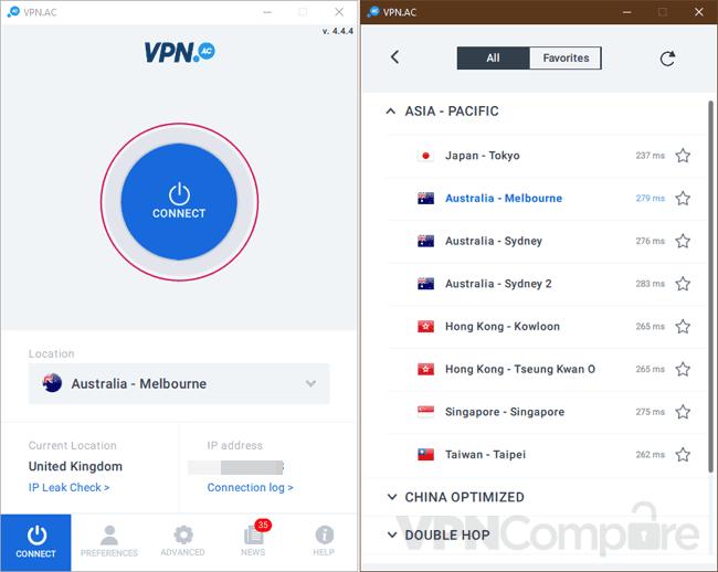VPN.ac Windows app
