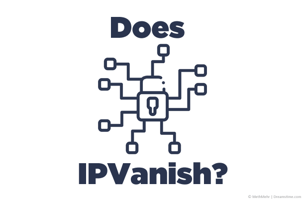 Computer network illustration with Does IPVanish text