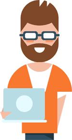 Illustration of man using computer