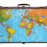 World map on suitcase